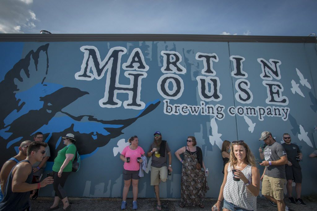 Beer fans gather at Martin House Brewery in Fort Worth, Texas on June 26, 2016.