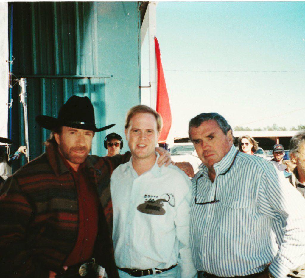 Actor Chuck Norris, Dallas Morning News staff writer Alan Peppard and director Michael Preece on a location shoot for Walker, Texas Ranger.