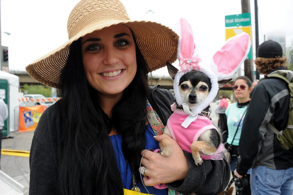 Mindy Lopez and her Easter bunny Sadie are ready to walk in the annual pet parade at the Deep Ellum Arts Festival.