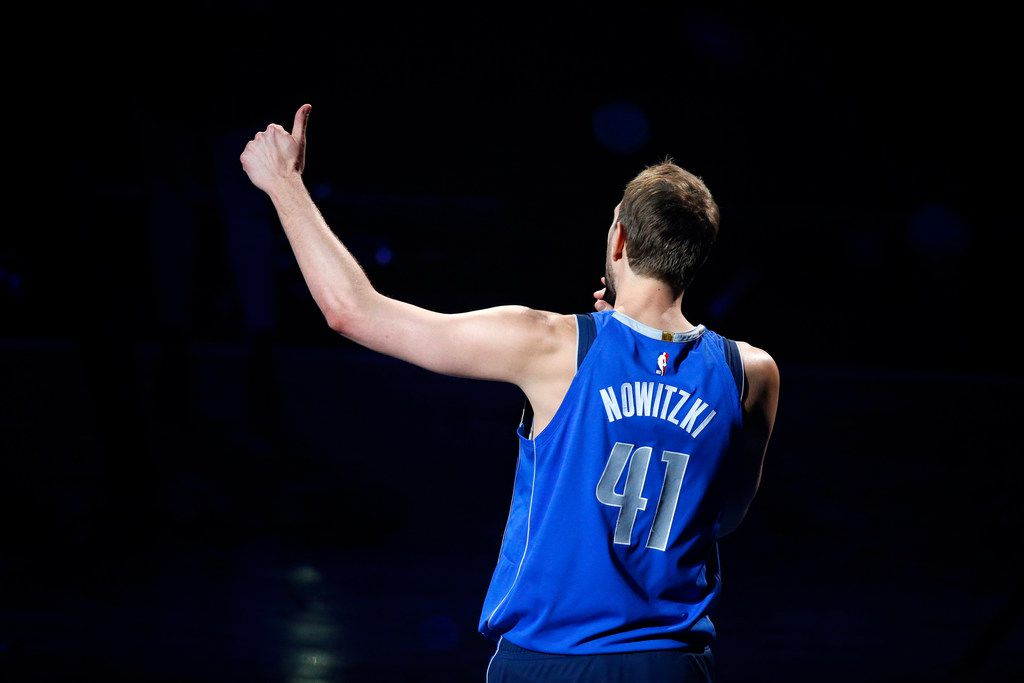 Dallas Mavericks forward Dirk Nowitzki thanks the fans for 21 years during a post game ceremony at the American Airlines Center in Dallas, Tuesday, April 9, 2019. Dirk is playing in his last home game of his 21st season with the team. (Tom Fox/The Dallas Morning News)
