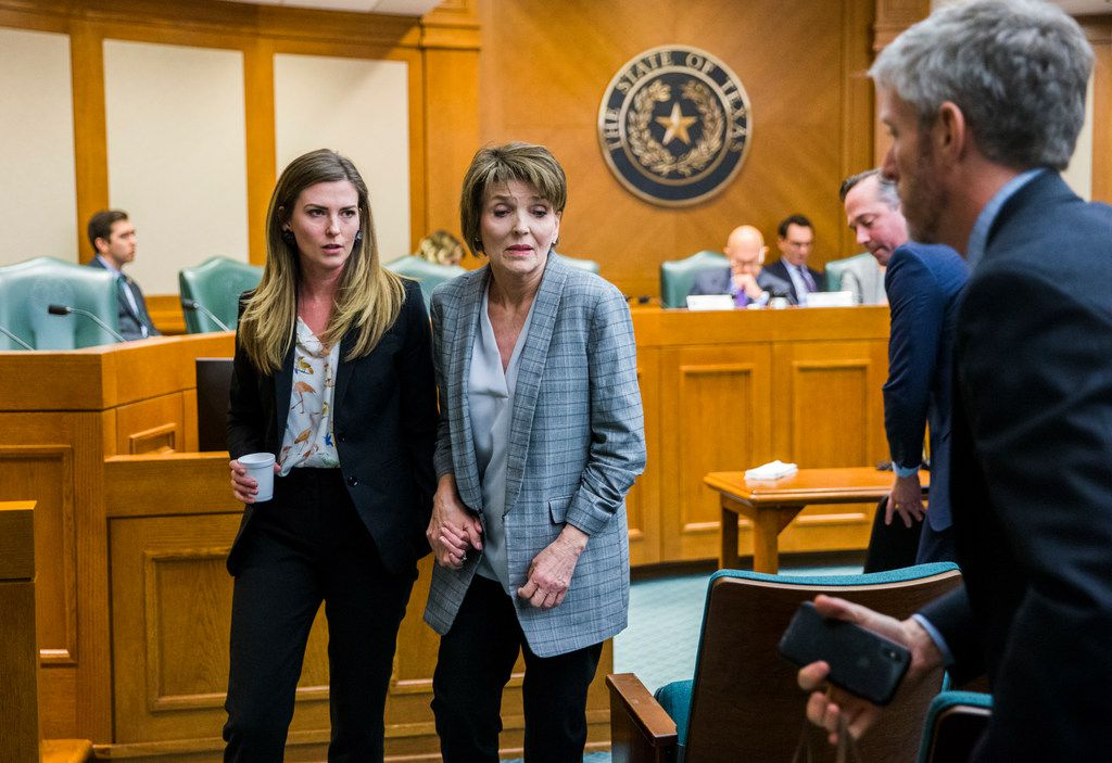 Eve Wiley (left) and her mother, Margo Williams (center), testified  before the Senate Criminal Justice Committee on Wednesday  in Austin. They, with state Sen. Joan Huffman, are trying to pass SB 1259, which would make it a state jail felony for a health care provider to implant human reproductive material from an unauthorized source without consent of the patient. At right are Wiley's advisers Kris Heckmann and Justin Keener of Granite Public Affairs.