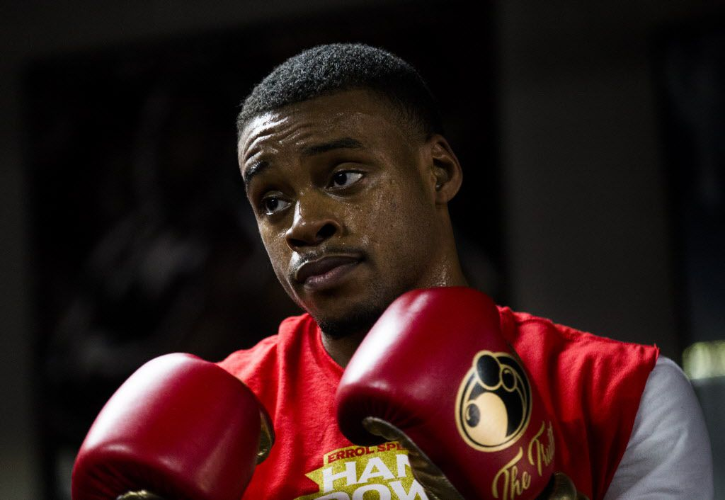 Number one ranked IBF Welterweight contender Errol Spence, Jr. works out with his trainer, Derrick James on Tuesday, April 25, 2017 at R&R Boxing Club in Dallas. The workout is in advance of his mandatory title shot against IBF Welterweight Champion Kell Brook on Saturday, May 27 in Sheffield, England. (Ashley Landis/The Dallas Morning News)