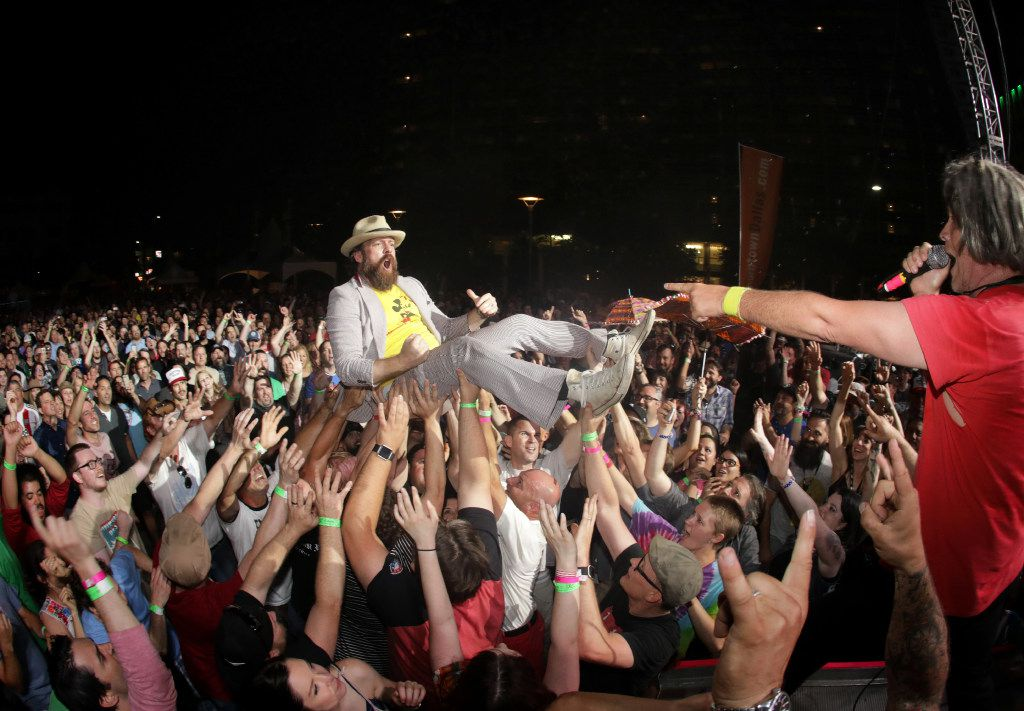Josh Jordan crowd surfs as Tripping Daisy performs during Homegrown Music & Arts Festival in Dallas, TX, on May 13, 2017. (Jason Janik/Special Contributor)