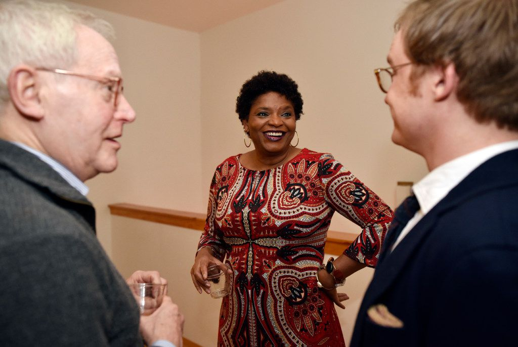 Dallas author Sanderia Faye speaks with Hughes Professor of English at Southern Methodist University, Willard Spiegelman (left) and writer Ryden Anderson  during a WordSpace Dallas Salon.