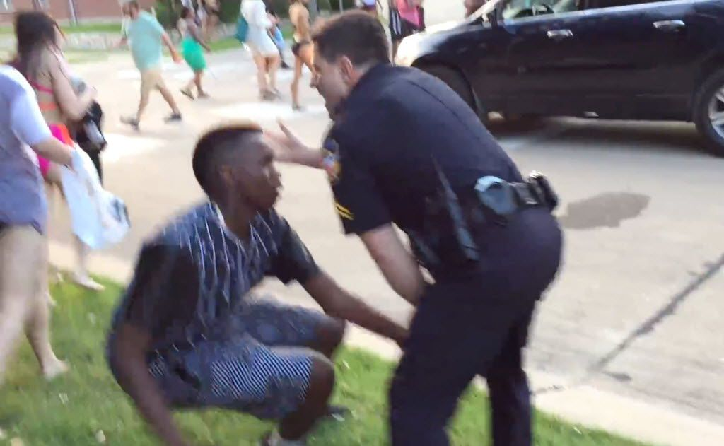 McKinney police officer Eric Casebolt slaps a black teen in the head as he pushes him to the ground during an incident outside a Craig Ranch swimming pool. Corporal Eric Casebolt has been placed on administrative leave by the McKinney, Texas, police department after a video surfaced that raises questions about his actions during an incident at a public pool. Casebolt and other officers responded to the pool on June 5 for a report of a disturbance involving multiple juveniles who were not permitted to be there and were refusing to leave, police said.