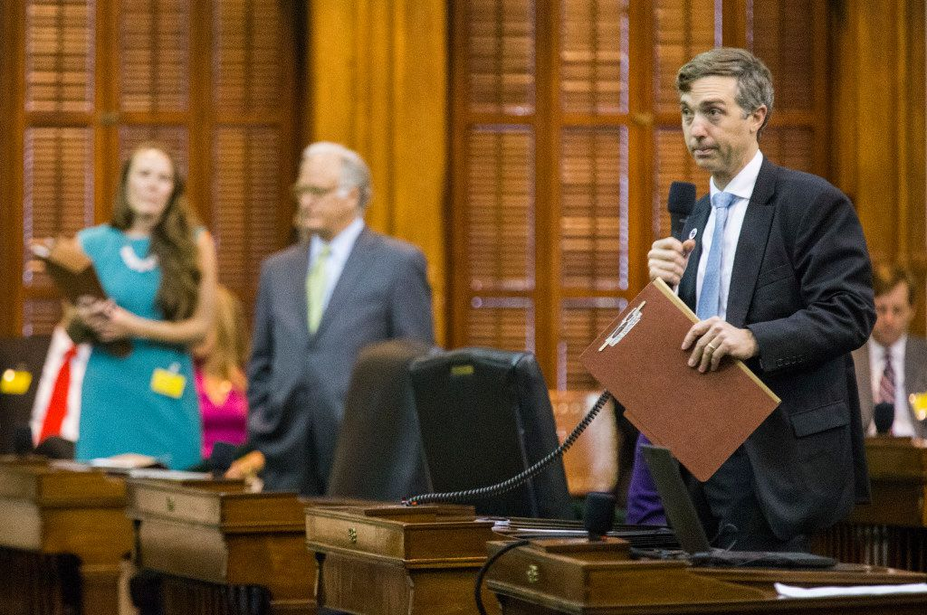 Sen. Van Taylor takes questions about the sunset bill during a midnight session during the third day of a special legislative session on July 20, 2017, in Austin. The midnight session was called to read and pass the measure.