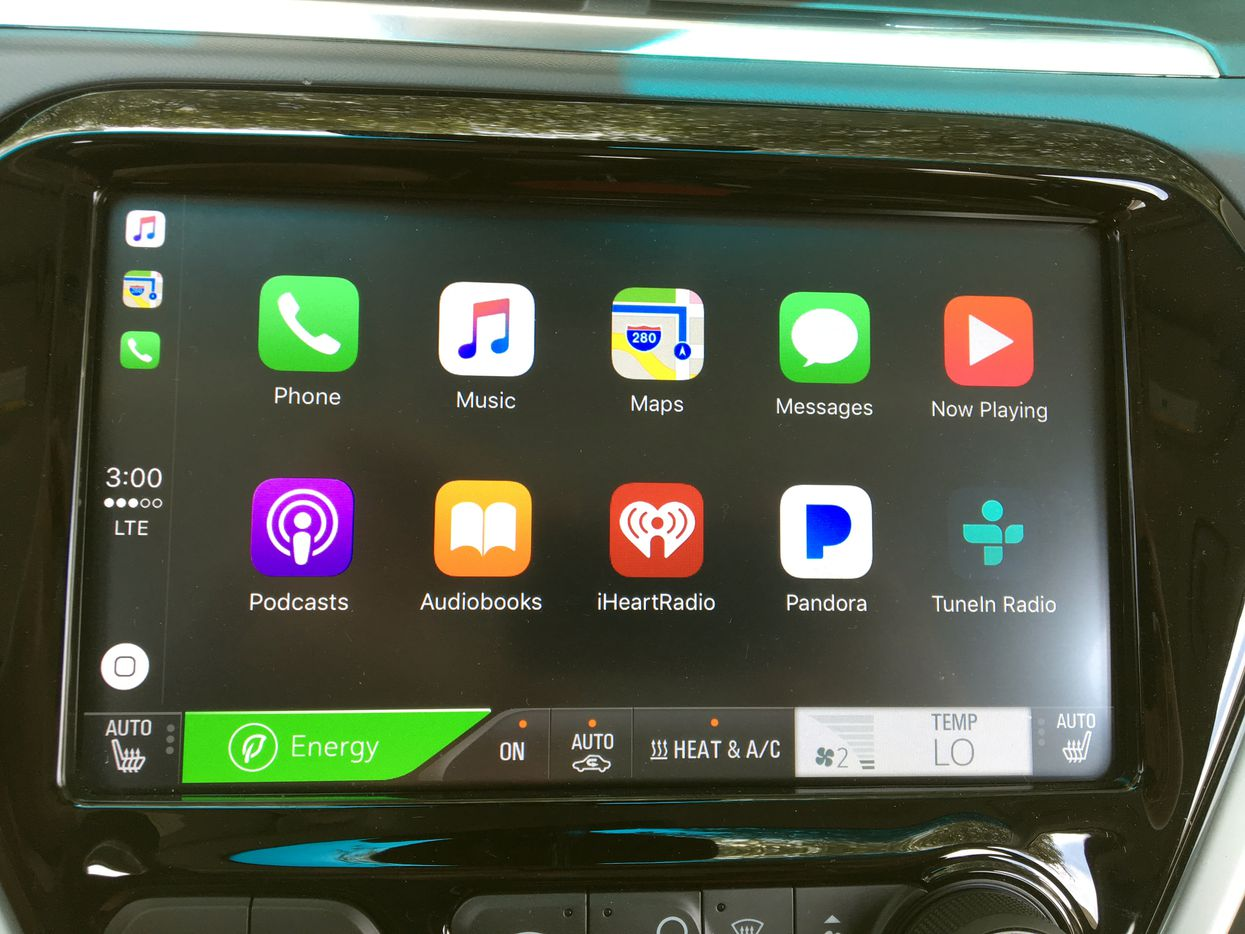 The Bolt EV's entertainment system using Apple Car Play when an iPhone is connected via USB