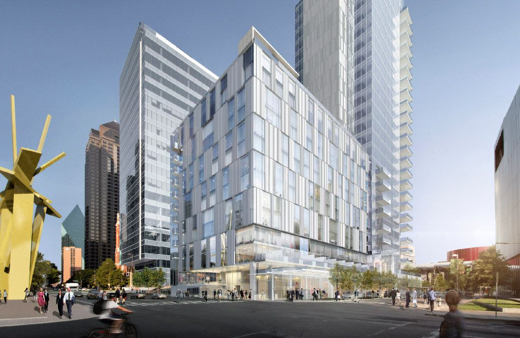The 183-room Hall Arts Hotel will be on the north side of Ross Avenue. Developer Craig Hall's planned Arts District high-rise will include a hotel on the lower floors and condominiums in a 25-story tower.