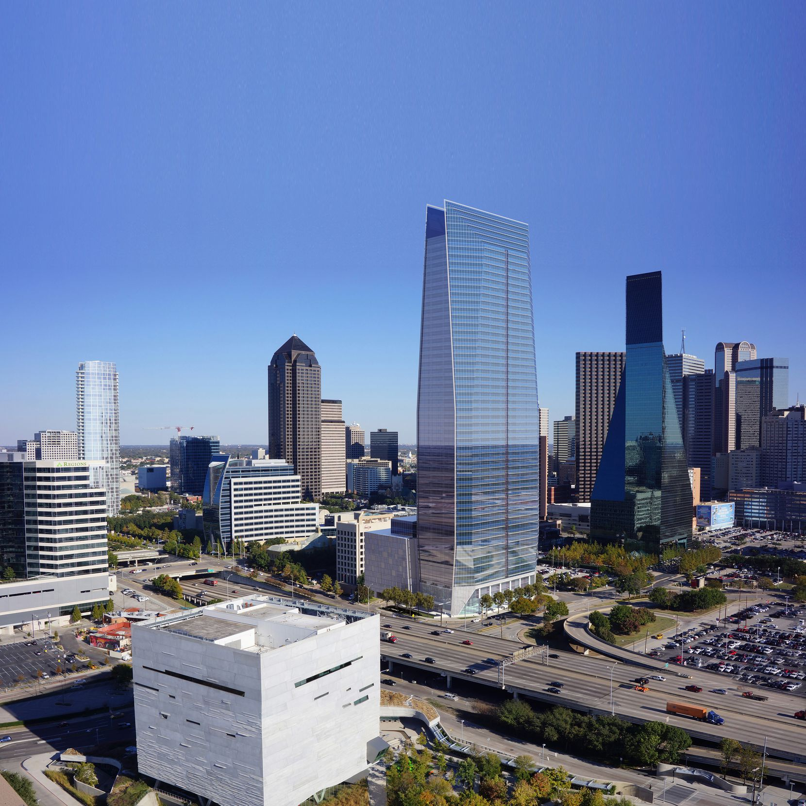 Ross Perot Jr.'s HIllwood development company has done design concepts for a new skyscraper shown in this rendering.