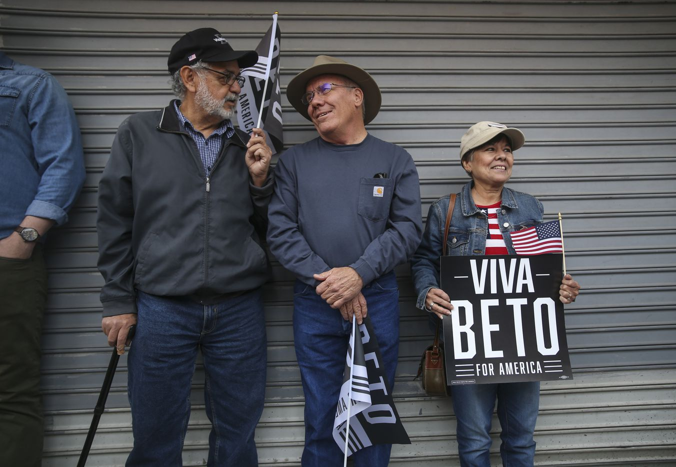 """From left: Carlos Chavez,. Bill Smith and Stella Alvarez, all of El Paso, talked before the start of a Beto O'Rourke presidential campaign kickoff rally in downtown El Paso on Saturday, March 30, 2019. """"It's his decency representing the USA,"""" Alvarez said of Beto O'Rourke. """"He stands for everyone. He stands for humanity."""""""