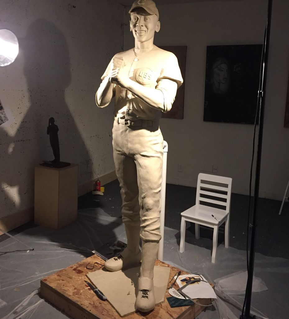 Ernie Banks' statue in sculptor Emmanuel Gillespie's studio before it was sent to the foundry for casting.