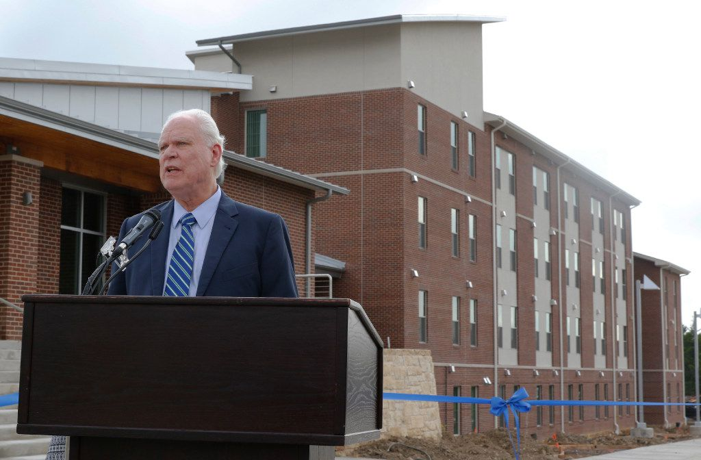 UNT Dallas president Bob Mong speaks at the University of North Texas at Dallas grand opening for the first residence hall on Thursday, August 3, 2017. The $8.1 million-residence hall has 120 beds. (David Woo/The Dallas Morning News)