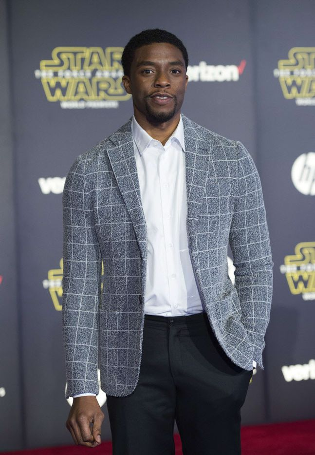 """Actor Chadwick Boseman attends the World Premiere of """"Star Wars: The Force Awakens"""", in Hollywood, California, on December 14, 2015."""