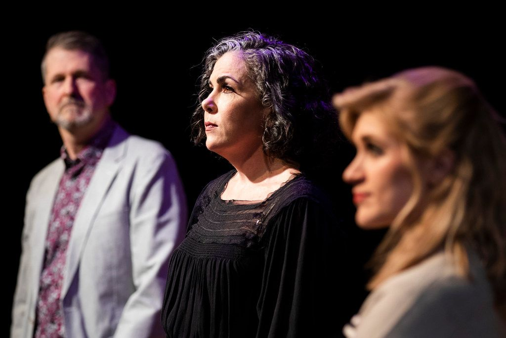 Emily Scott Banks (center) plays Mrs. Ranevsky in The Cherry Orchard at the Trinity River Arts Center through July 14. Stan Graner (left) is Leon Gaev, and Gretchen Hahn plays Miss Barbara.
