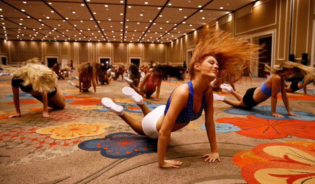 Sarah Bailey of Dallas dances during the first day of the Dallas Mavericks Dancers auditions at the Hilton Anatole in Dallas on Saturday, July 15, 2017.