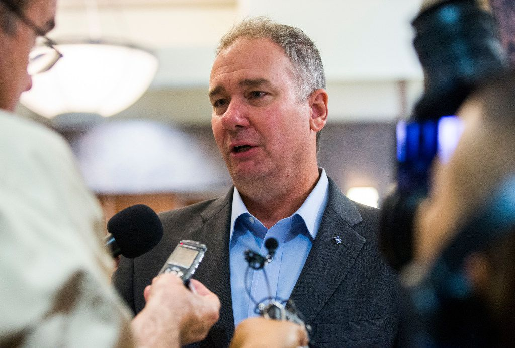 Michael Quinn Sullivan, president of Empower Texans, speaks to reporters after a Republican caucus on Wednesday, August 16, 2017 at the Texas state capitol in Austin, Texas.