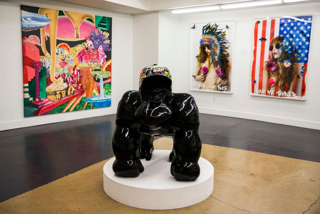 A gallery upstairs at Psychedelic Robot features large-scale pieces of work for sale.