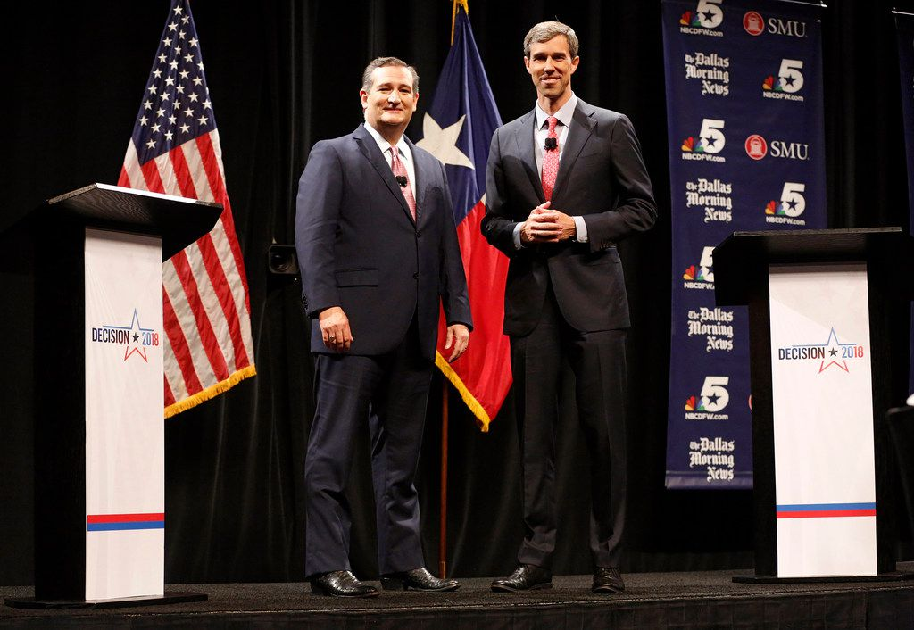 Sen. Ted Cruz (R-Texas) and Rep. Beto O'Rourke (D-Texas) after a debate at McFarlin Auditorium at Southern Methodist University in Dallas on Friday, Sept. 21, 2018. (Tom Fox/Dallas Morning News/TNS)