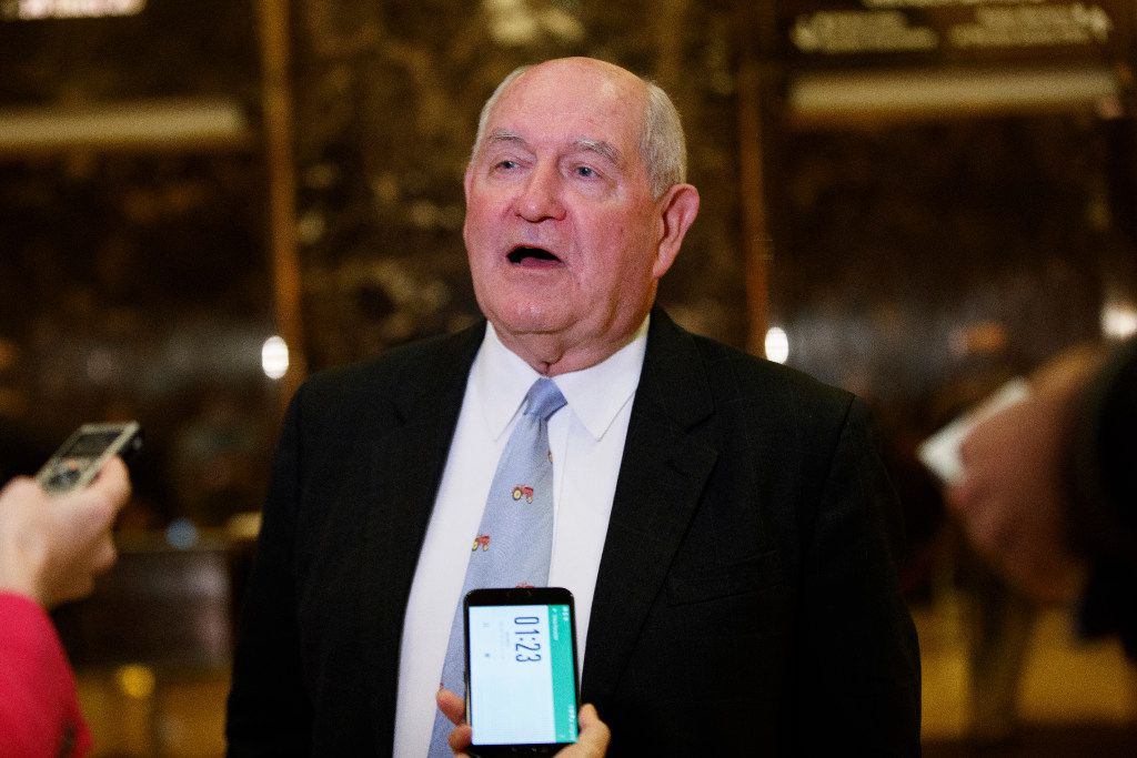 Former Georgia Gov. Sonny Perdue talks with reporters on Nov. 30 after meeting with President-elect Donald Trump at Trump Tower. (AP/Evan Vucci