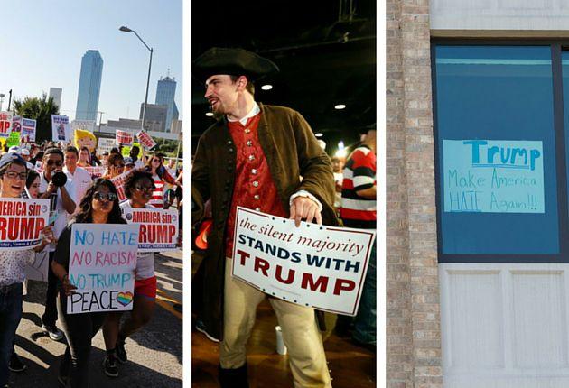 Imagenes de las muestras de apoyo y protestas en Dallas durante la visita de Donald Trump. /DMN