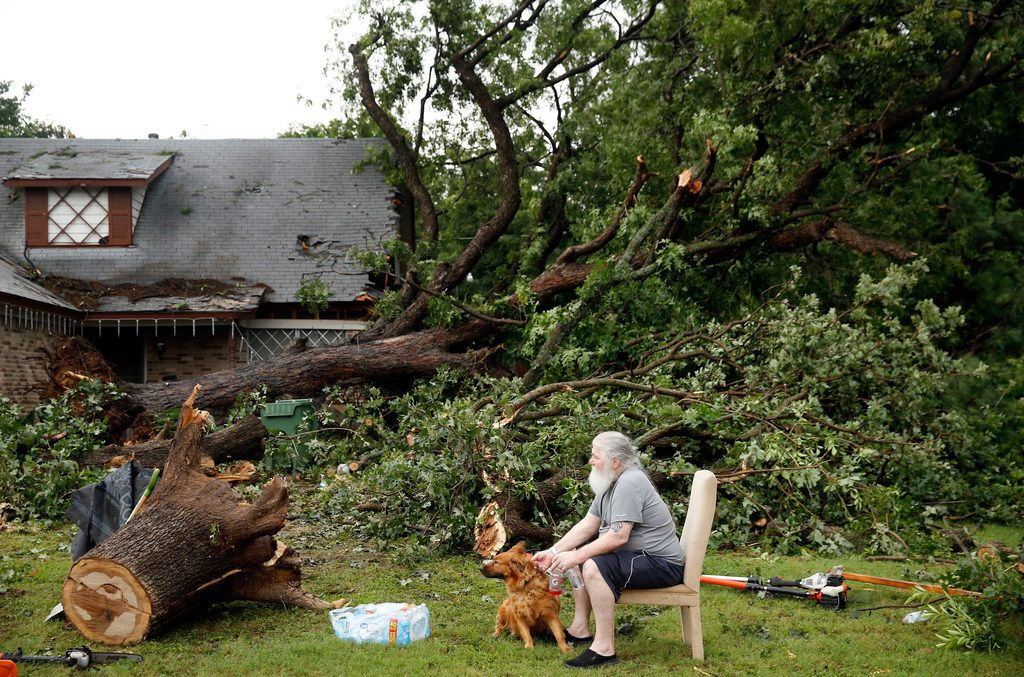 Resident John Mooney sits outside his rental house on Andrews St. in North Arlington, Sunday, June 16, 2019 after high winds from a thunderstorm toppled a large pecan and oak tree in the neighborhood near Globe Life Park.
