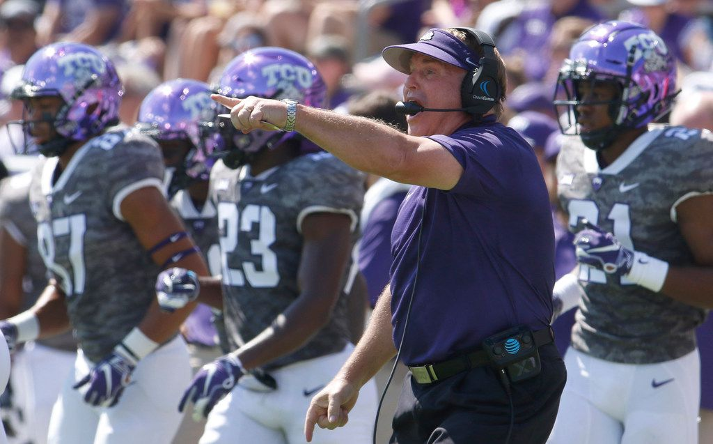TCU head coach Gary Patterson makes a point as he directs his players during first half action against Southern. The two teams played their season opening football game at Amon G. Carter Stadium in Fort Worth on September 1, 2018. (Steve Hamm/ Special Contributor)