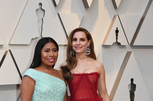 Las actrices de 'Roma'  Yalitza Aparicio y Marina de Tavira a su arribo al Dolby Theatre en Hollywood para la entrega de los Oscar.  (Mark RALSTON / AFP Getty Images)