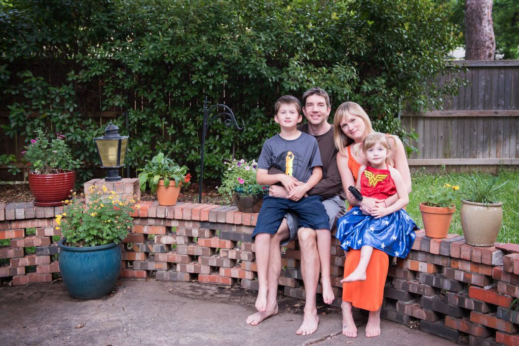 From left, Max Briggle, Adam Briggle, Amber Briggle and LuLu Briggle at their Denton home on Sunday, May 15, 2016.