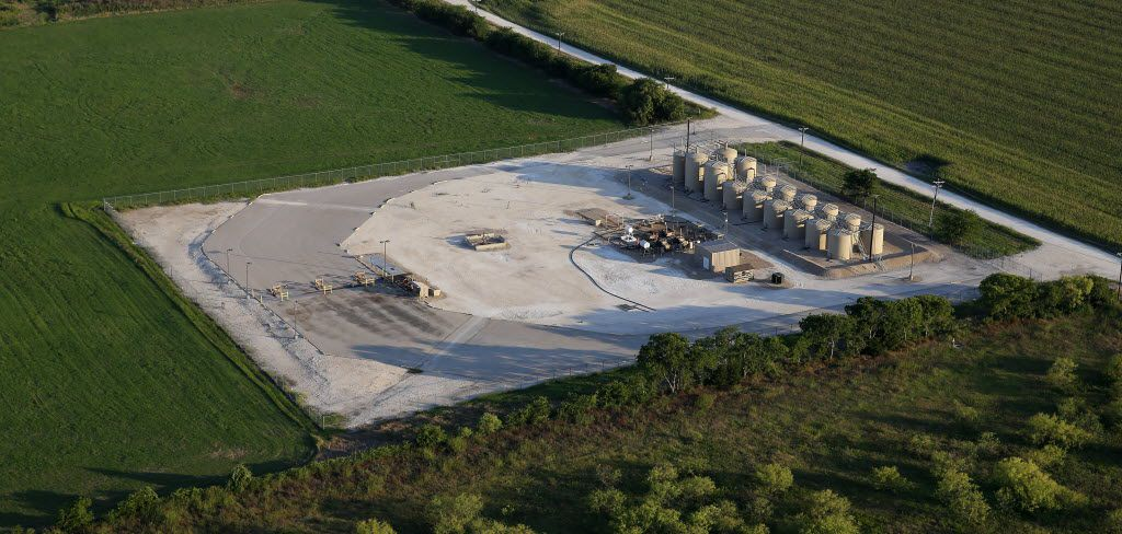 An aerial shot of the wastewater disposal well site of EOG Resources in Mansfield, Texas, Thursday, June 30, 2016.