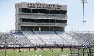 McKinney ISD's three high schools share 7,000-seat Ron Poe Stadium, built in 1962. (AP Photo/LM Otero)