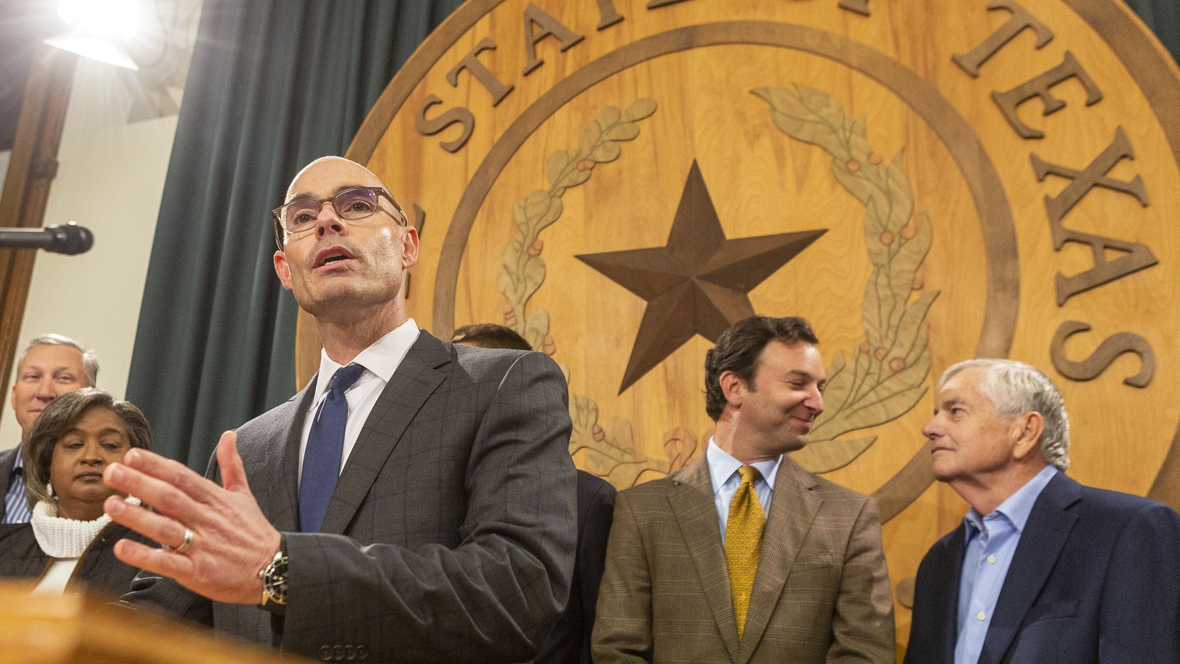 Rep. Dennis Bonnen, R-Angleton, announces he has the votes to be elected the next speaker of the Texas House for the coming session at the Texas Capitol in Austin on Monday.