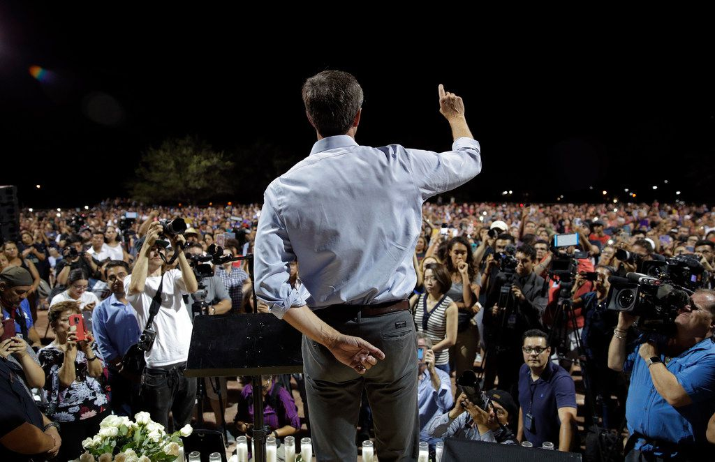 Democratic presidential candidate and former Texas Rep. Beto O'Rourke speaks during a vigil for victims of Saturday's mass shooting at a shopping complex Sunday, Aug. 4, 2019, in El Paso, Texas. (AP Photo/John Locher)