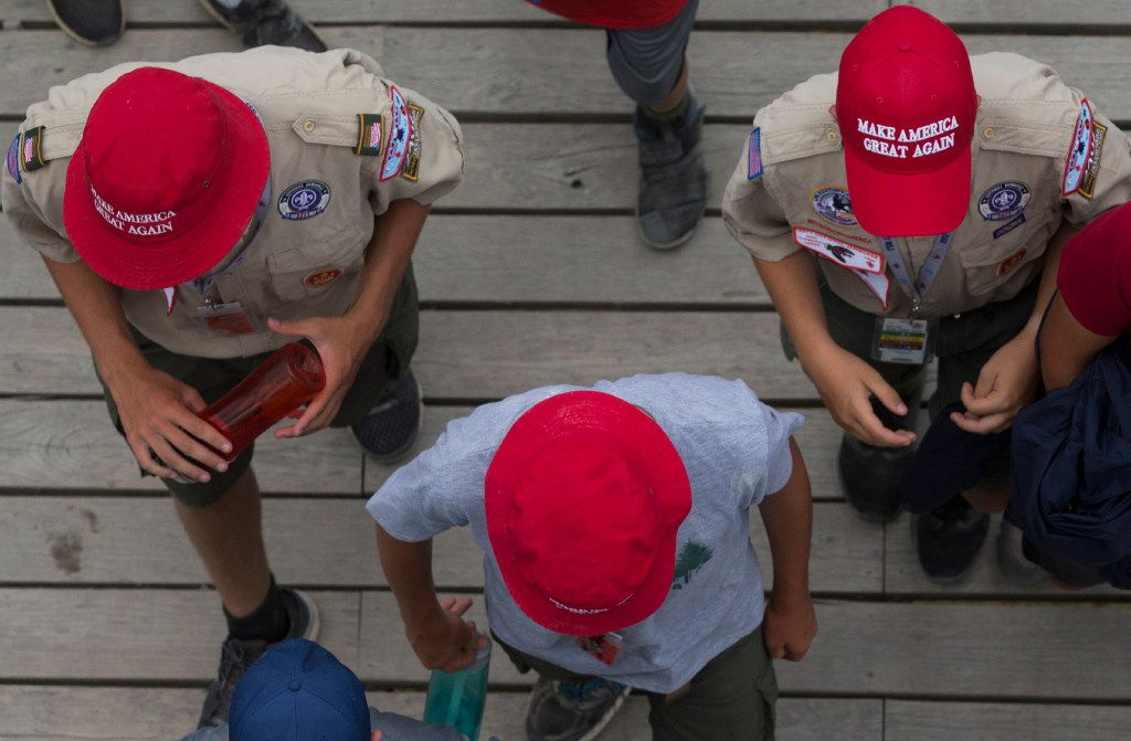 Scouts make their way to AT&T Summit Stadium for a visit by President Donald Trump during the National Scout Jamboree on Monday, July 24, 2017, at the Summit Bechtel Reserve, in Mount Hope, West Virginia.