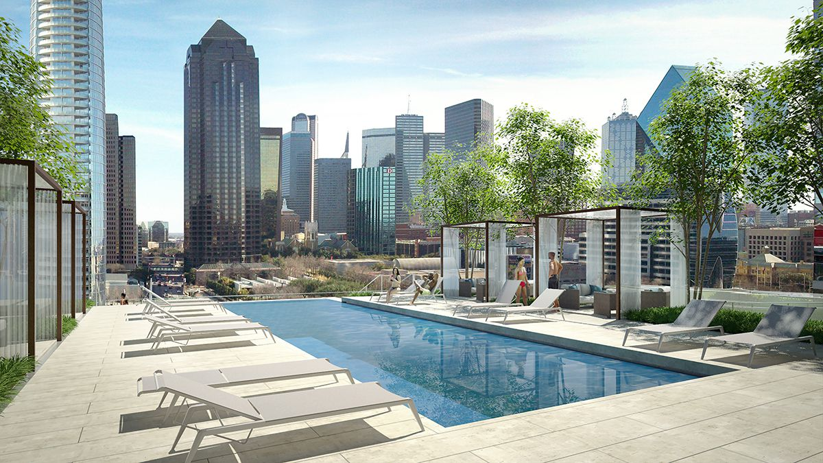 The swimming pool deck at the Residences at Park District apartment tower in Uptown.