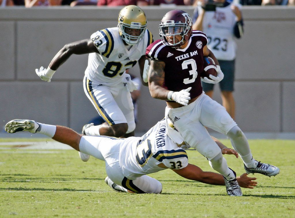 FILE - Texas A&M wide receiver Christian Kirk (3) is pictured during a game against UCLA at Kyle Field in College Station on Saturday, Sept. 3, 2016. (Louis DeLuca/The Dallas Morning News)
