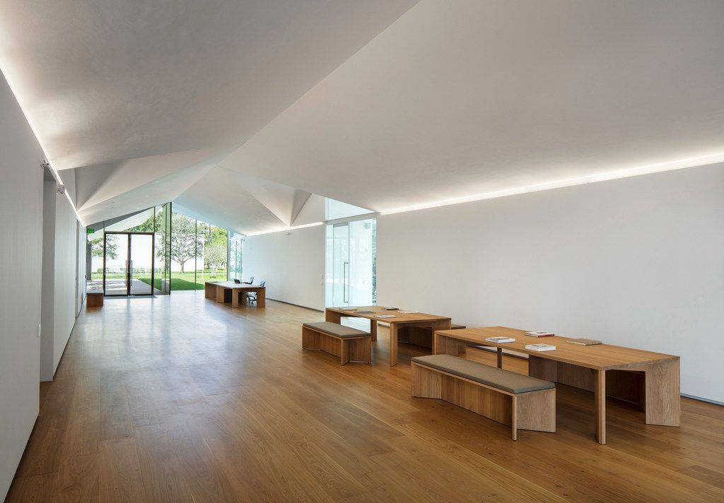Living Room of the Louisa Stude Sarofim Building housing the Menil Drawing Institute, at The Menil Collection in Houston. Johnston Marklee, architects; Michael Van Valkenburgh Associates, landscape architects