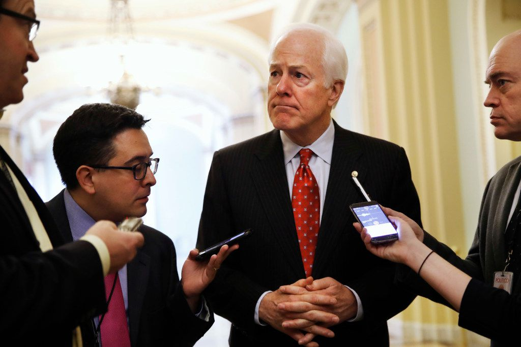 Senate Majority Whip John Cornyn of Texas, talks with reporters about President Trump's decision to fire FBI Director James Comey, on Capitol Hill in Washington, Wednesday, May 10, 2017.