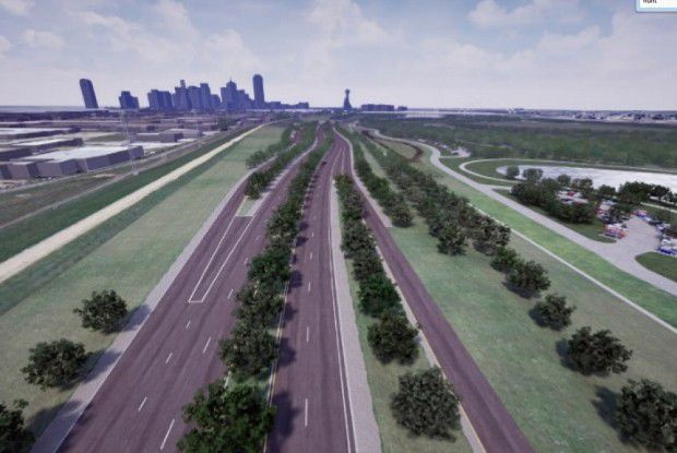 """The proposed Trinity """"parkway,"""" not a meander in sight."""
