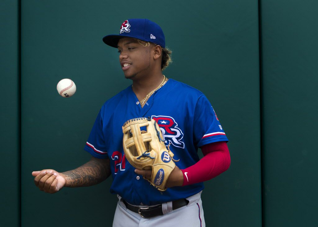 Round Rock Express left fielder Willie Calhoun poses for a portrait at the Oklahoma City Dodgers' Chickasaw Bricktown Ballpark on Sunday, August 13, 2017 in Oklahoma City, Oklahoma. (Ryan Michalesko/The Dallas Morning News)