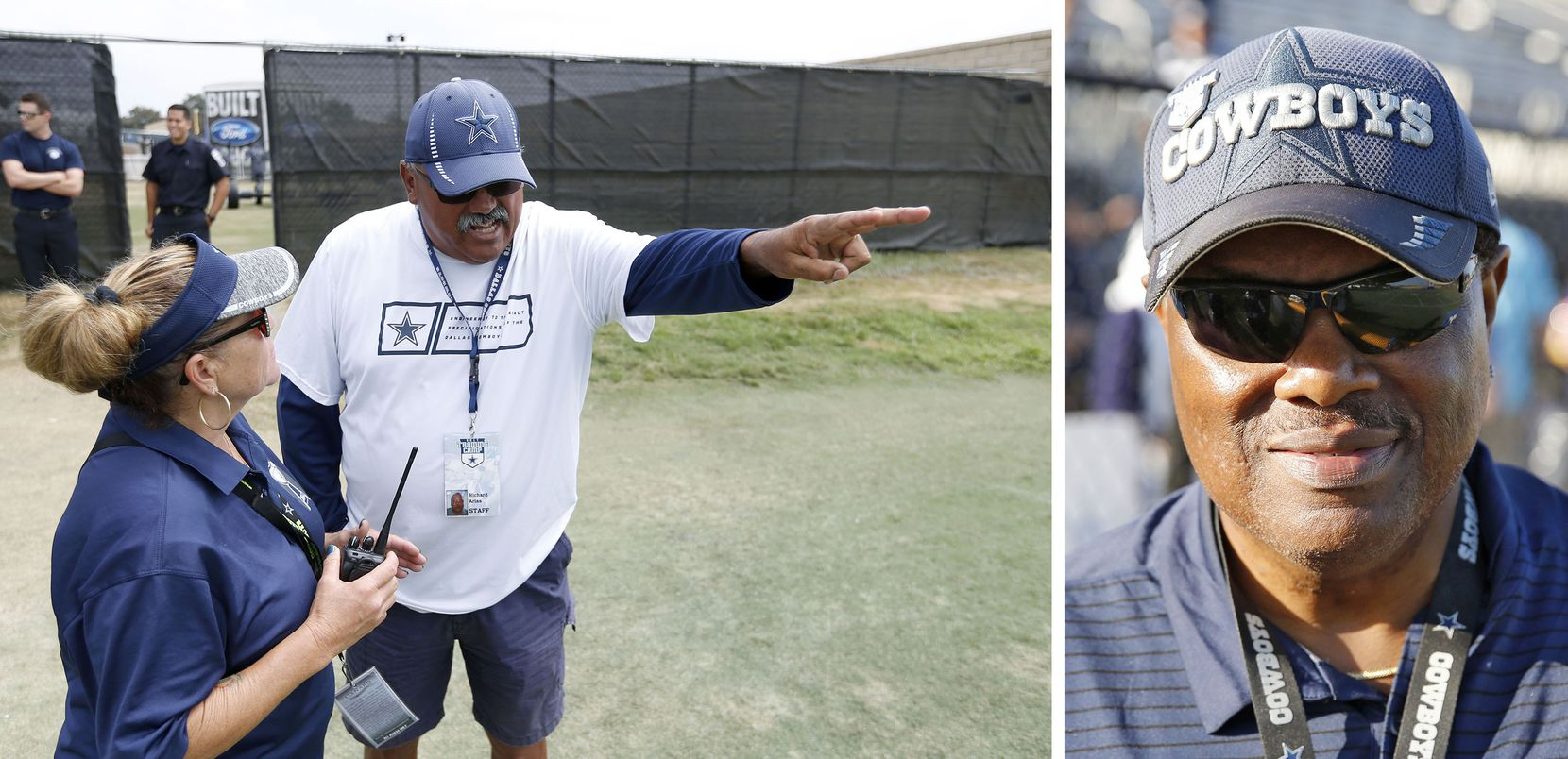 Richard Arias (left) coordinates the more than 200 volunteers, including Ken Turner (right) who helps make training camp possible in Oxnard.