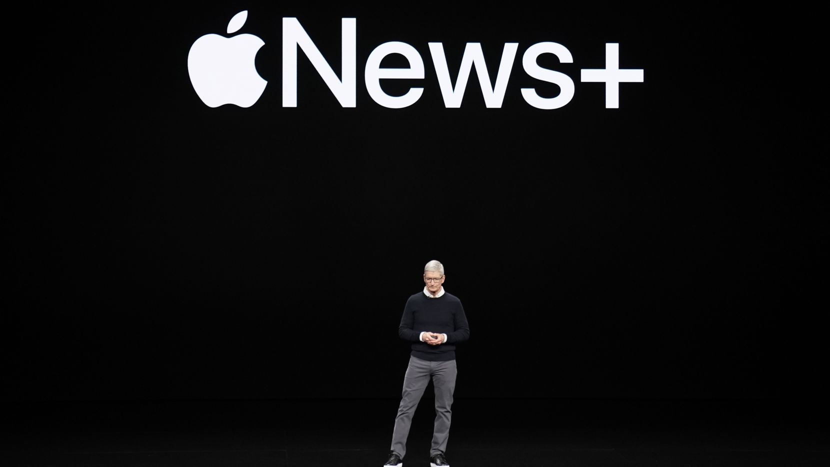 Apple CEO Tim Cook at the Steve Jobs Theater during an event to announce new products Monday, March. 25, 2019, in Cupertino, Calif. (AP Photo/Tony Avelar)
