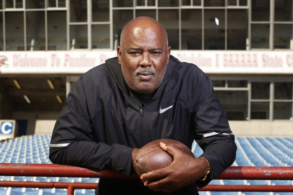 Reginald Samples, head coach of Duncanville, High School, poses for a portrait at the school in Duncanville, Texas on Dec 18, 2018.  (Nathan Hunsinger/The Dallas Morning News)