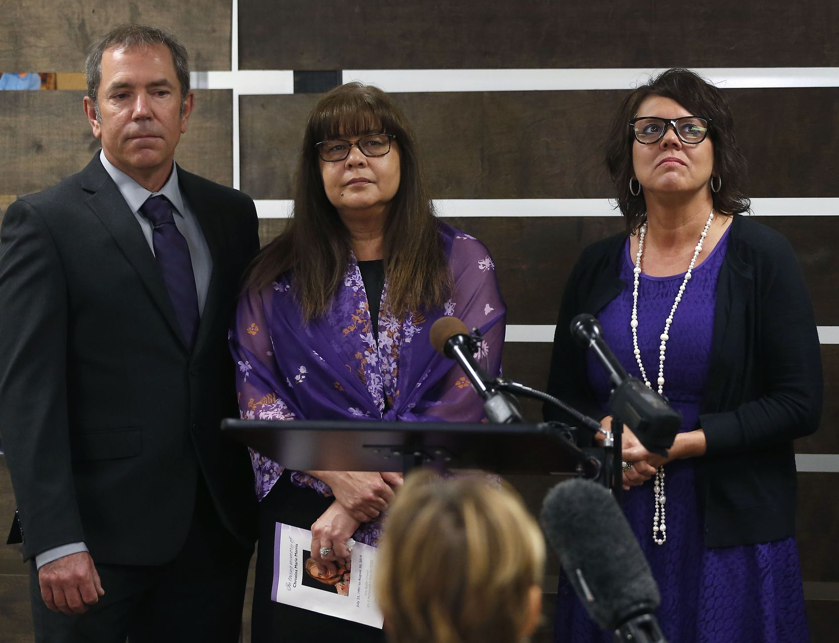 From left: Mark Morris, Anna Morris and Jonni Hare attend a news conference before the memorial service for their daughter Christina Morris at First Baptist Church in Allen.
