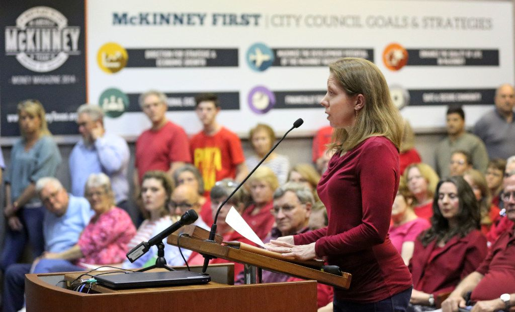 Stephanie Weyenberg speaks to the McKinney City Council to oppose the proposed Highway 380 bypass alignment that would affect her five-acre property in unincorporated Collin County just outside the McKinney city limits. (Louis DeLuca/The Dallas Morning News)
