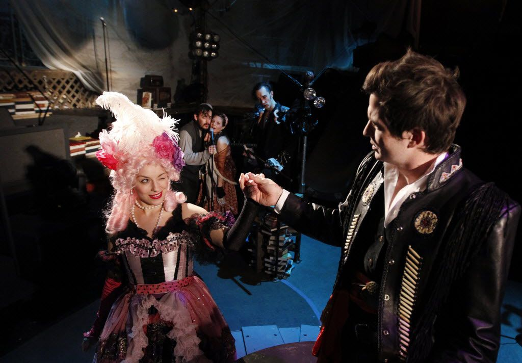 A scene of On The Eve, a world premiere rock musical at Theatre Three in Dallas,TX on January 20, 2014. L to R in Foreground are Martha Harms as Antoinette/Marie and Seth Magill as Chase Spacegrove. In Background L to R are Montgomery Sutton as Joseph, Jenny Ledel as Simone/Caroline, and Gregory Lush as Talking Man/Captain Boulder. (Kye R. Lee/The Dallas Morning News)