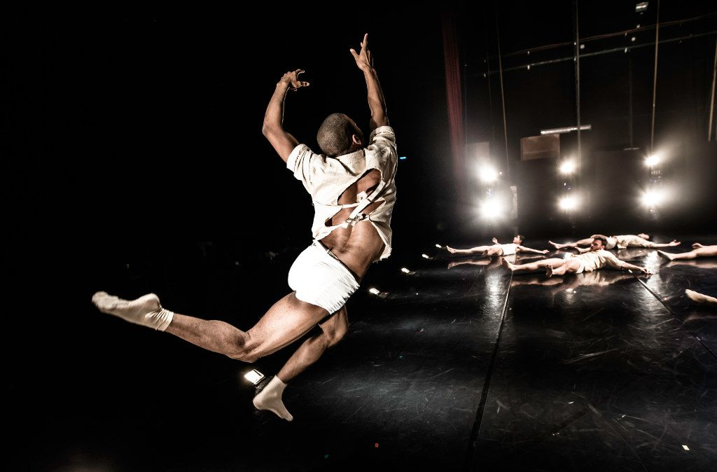 The costumes look like straitjackets in Horses in the Sky by Rami Be'er for his  Kibbutz Contemporary Dance Company.