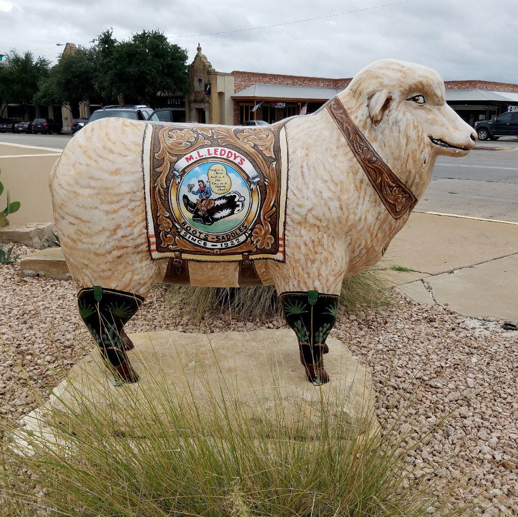 One of many fiberglass sheep stands next to M.L. Leddy's in San Angelo. The sheep, a reference to the town's status as a top wool producer, dot the downtown landscape.