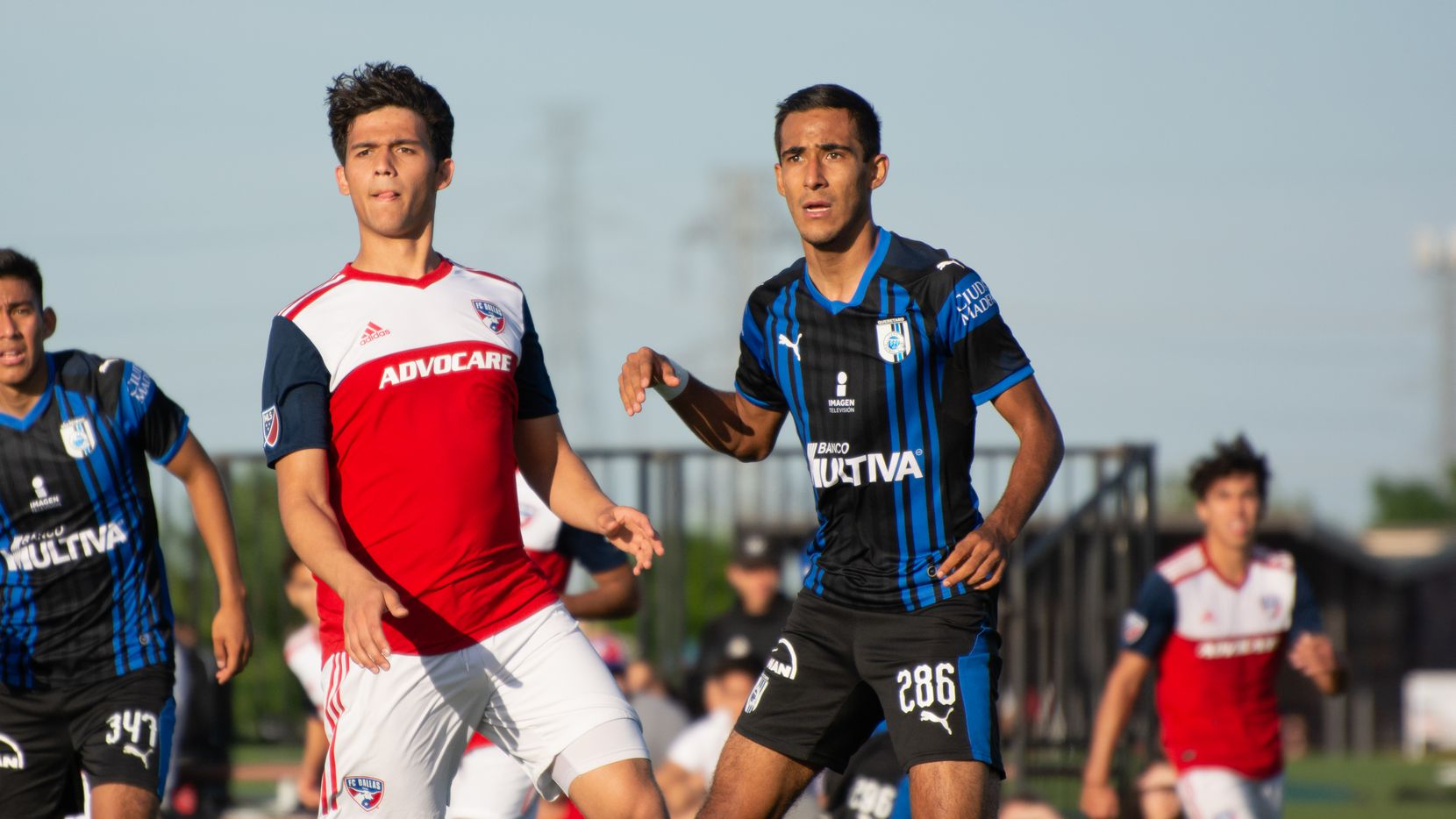 Nathan Toledo of the FC Dallas U19s looks for a cross against Queretaro in the Dallas Cup 40 Super Group.