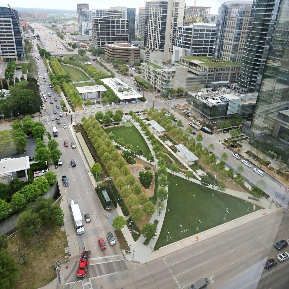 An aerial view of Klyde Warren Park.