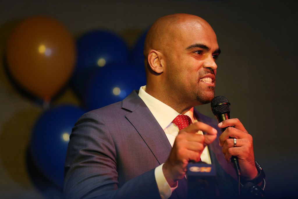 Colin Allred speaks to supporters during an election night party at Ozona Grill and Bar in Dallas Tuesday May 22, 2018. Allred is running for the 32nd Congressional District against Lillian Salerno in the Democratic primary runoff.